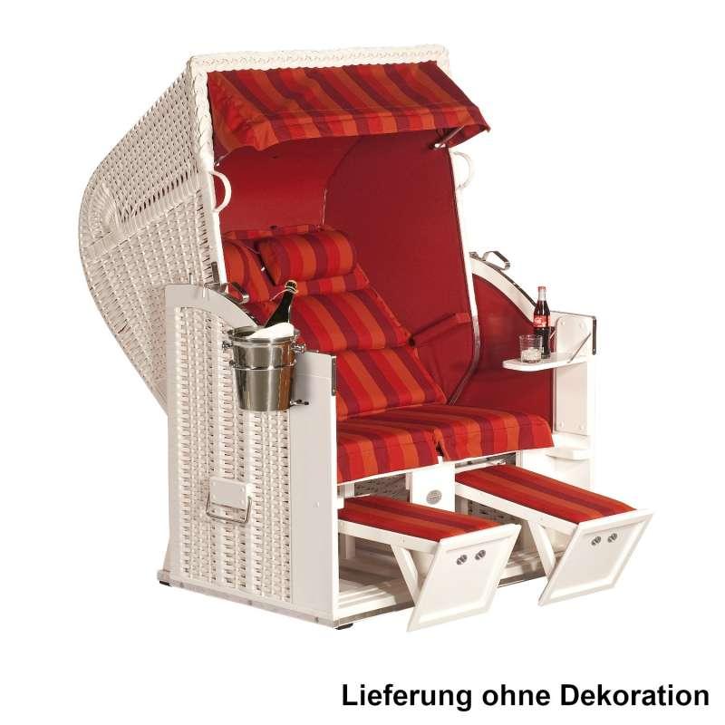 Sonnenpartner Strandkorb Classic Duo-Style 2-Sitzer Halbliegemodell weiß/weinrot mit Sonderausstattu