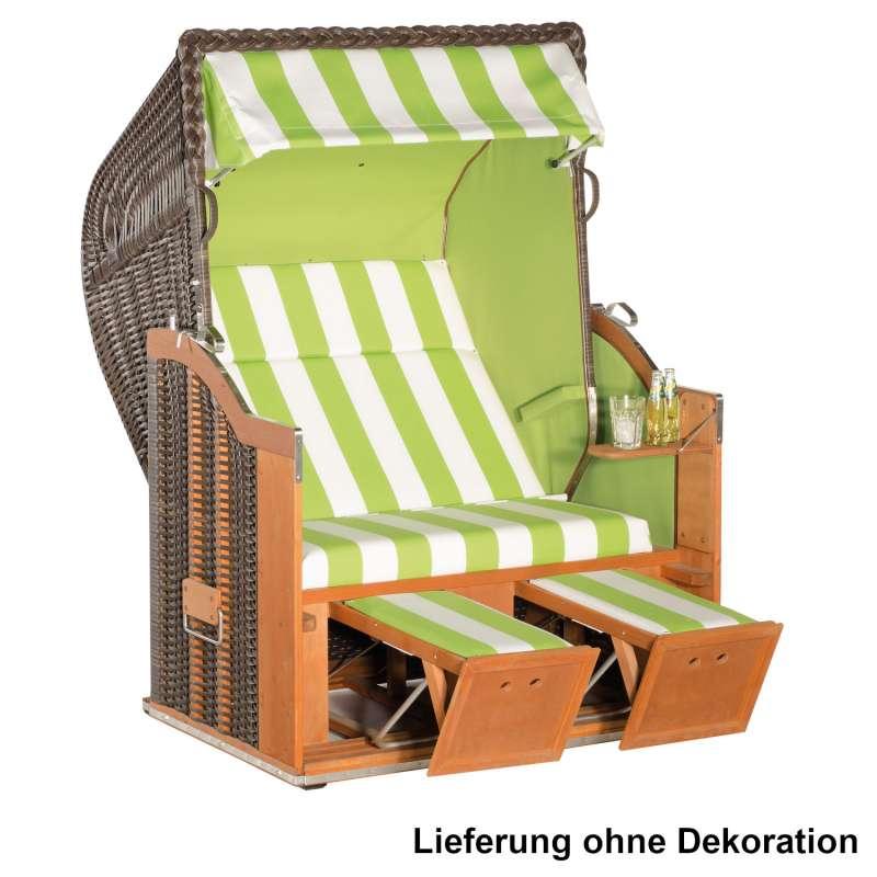 Sonnenpartner Strandkorb Classic 2-Sitzer Halbliegemodell cappuccino/apfelgrün höhenverstellbare Fuß