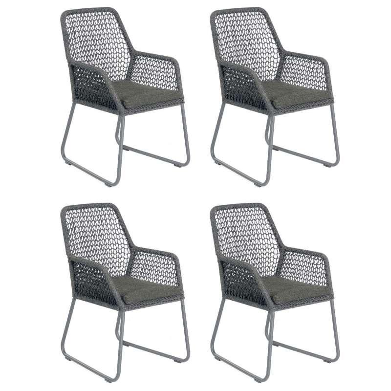Sonnenpartner 4er-Set Gartensessel Poison Aluminium mit Polyrope dunkelgrau Gartenstuhl Sessel
