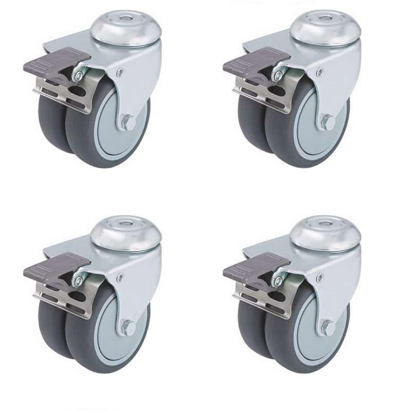 GLATZ Rollen Set zu Sockel M4 je ø 5 cm Höhe 5,5 cm aus Stahl verzinkt