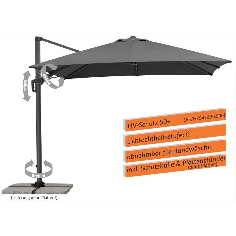 Schneider Schirme Rhodos Twist Sonnenschirm 300 x 300 cm anthrazit Freiarmschirm