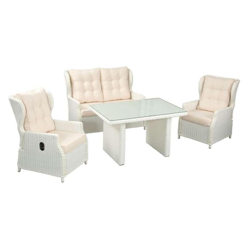 Inko 4-teilige Lounge-Sitzgruppe Leona Rattanoptik mit Tisch 120x83 cm weiß/ecru Loungegruppe