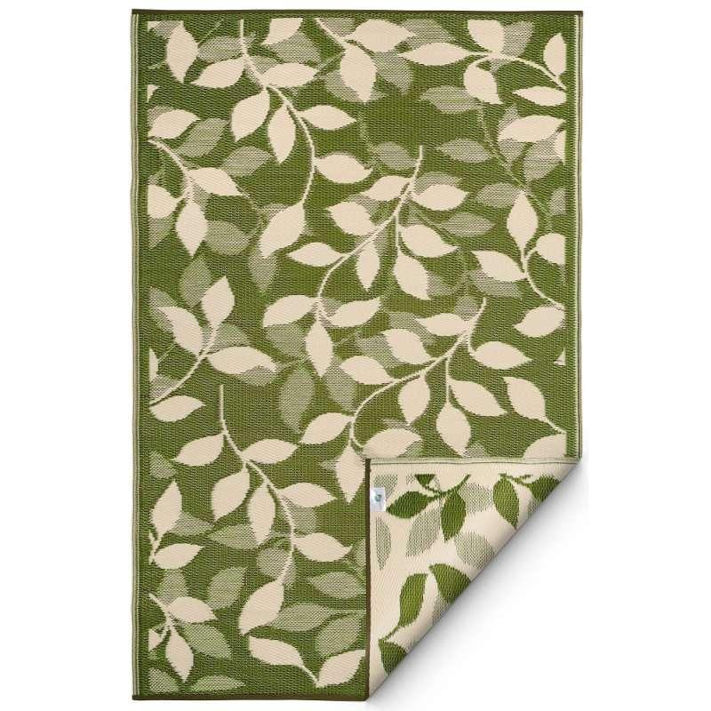 Fab Hab Outdoorteppich Bali aus recyceltem Plastik Blätter grün/creme wetterfest 240x300 cm