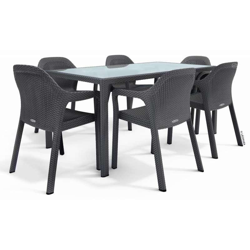 Lechuza Sitzgruppe Esstisch 160 x 90 cm granit inkl. 6 Stühle Gartentisch SET
