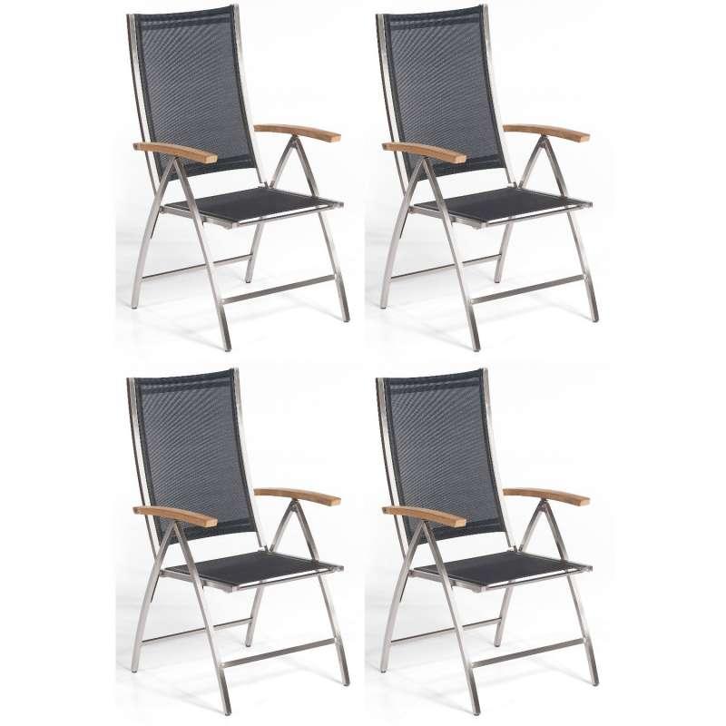 Sonnenpartner 4er-Set Klappsessel Paragon Edelstahl mit Textilen schwarz Klapp-Sessel Klappstuhl
