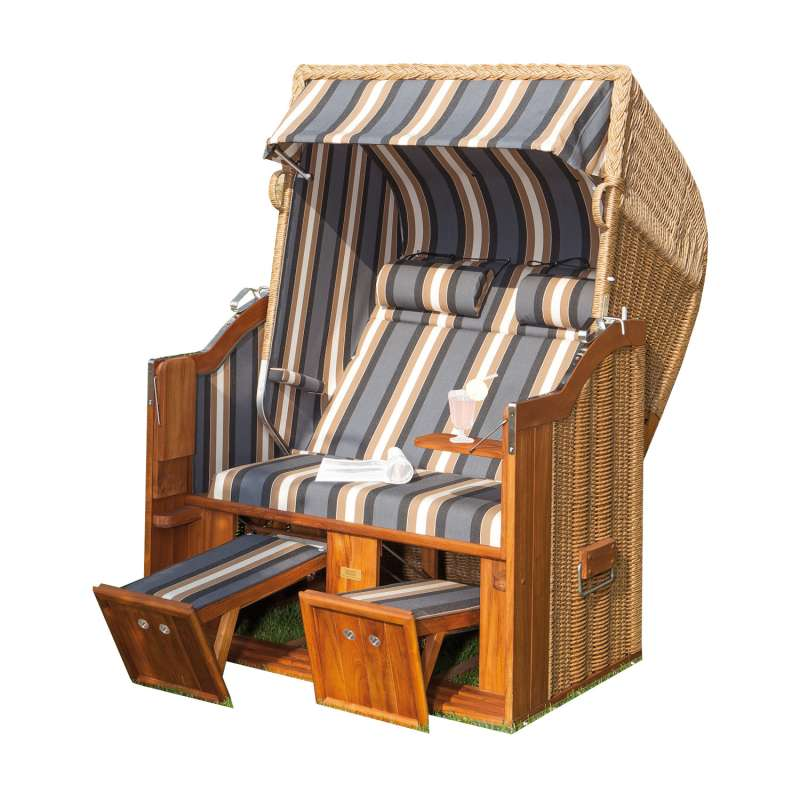 Sonnenpartner Strandkorb Classic Teak 2-Sitzer Halbliegemodell hyazinth/anthrazit mit Kissen