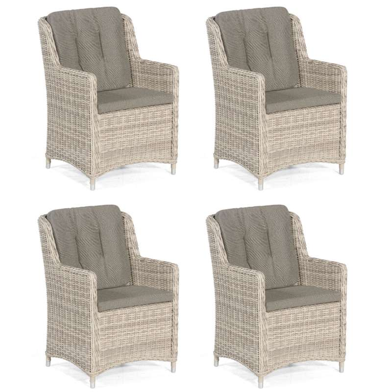 Sonnenpartner 4er-Set Garten-Sessel Avatar Aluminium mit Polyrattan white-coral Gartenstuhl Hochlehn