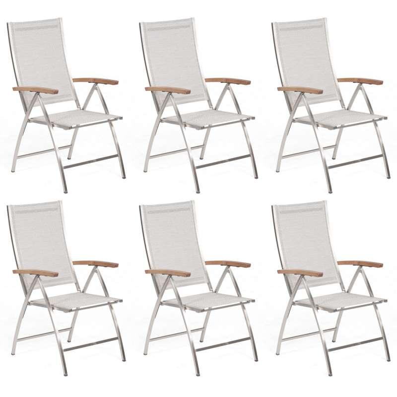Sonnenpartner 6er-Set Klappsessel Paragon Edelstahl mit Textilen silbergrau Klapp-Sessel Klappstuhl