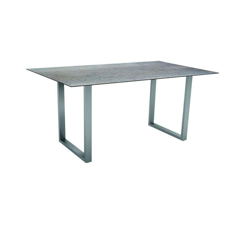 Stern Kufentisch 160x90 cm Edelstahl/Silverstar 2.0 Smoky Gartentisch Tisch