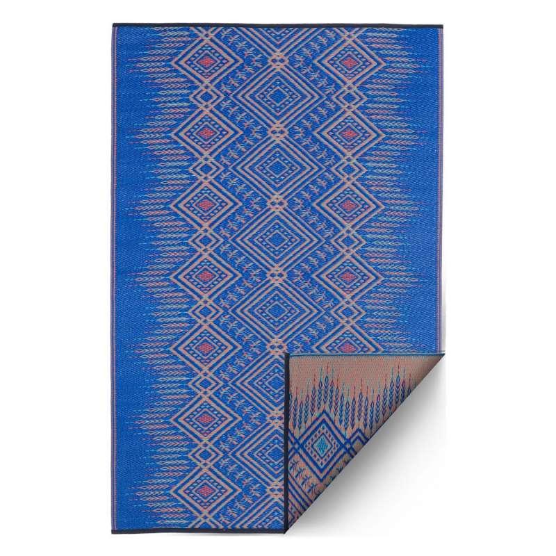 Fab Hab Outdoorteppich Jodhpur Multi Blue aus recyceltem Plastik blau/creme 150x240 cm