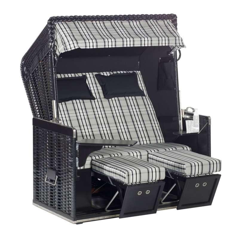 Sonnenpartner Strandkorb Konsul 2-Sitzer XL Halbliegemodell schwarz/weiß mit Sonderausstattung