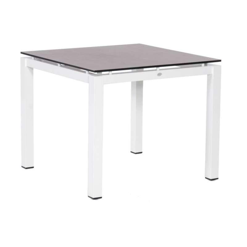 Sonnenpartner Gartentisch Base 90x90 cm Aluminium weiß Tischsystem mit wählbarer Tischplatte HPL Tea