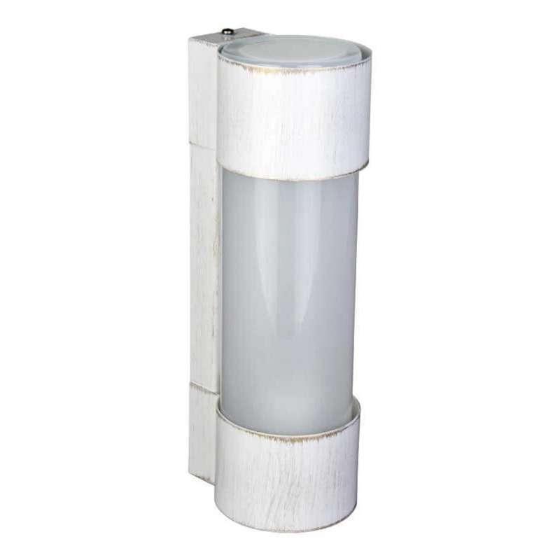 Heibi Wandleuchte NEPTO Stahl weiß-gold/Opalglas 10x12,5x31,5 cm E27 Außenleuchte Zylinderform