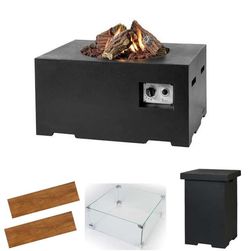 Happy Cocooning Mania Feuertisch Small Loungetisch schwarz Komplettset 80x60x40cm
