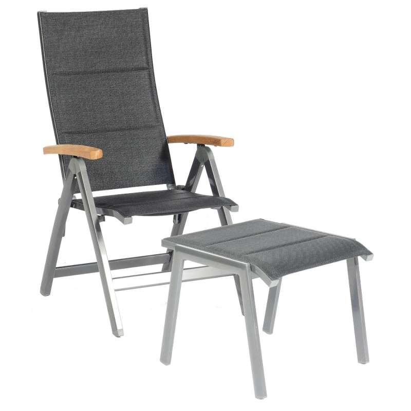 Sonnenpartner Klappsessel Sierra mit Fußhocker Aluminium mit Textilen anthrazit Klapp-Sessel Klappst