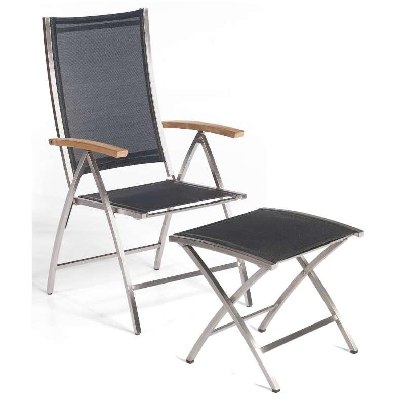 Sonnenpartner Klappsessel Paragon mit Fußhocker Edelstahl mit Textilen schwarz Klapp-Sessel Klappstu