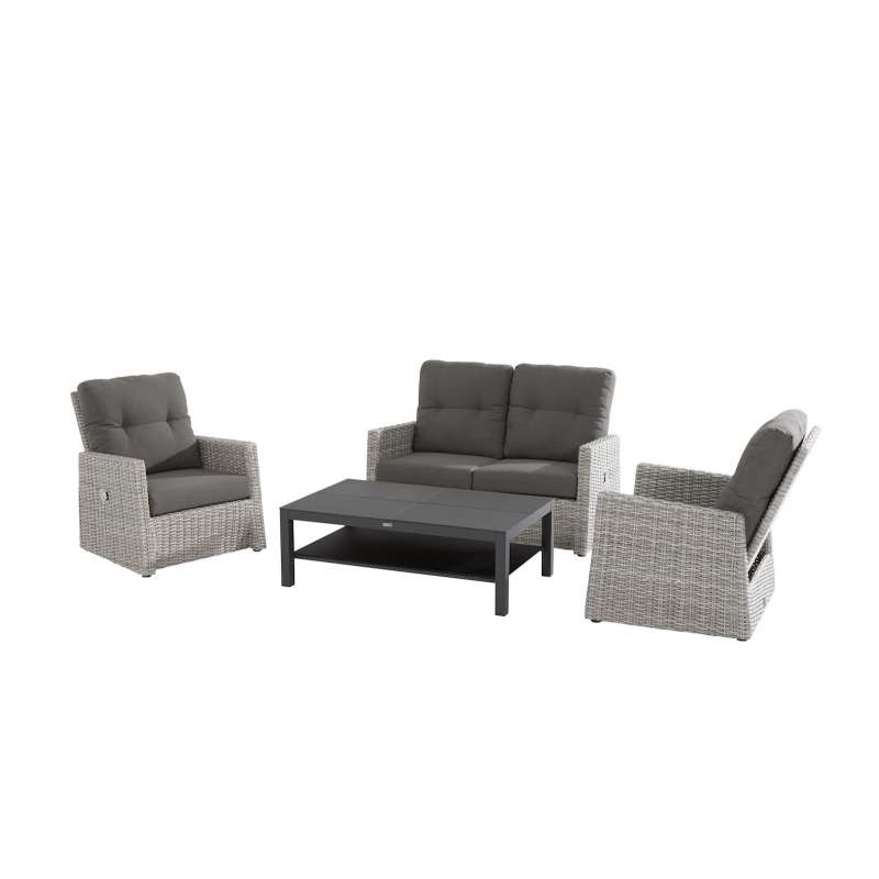 Aqua-Saar Gentleman 4-teiliges Set Loungesofa Komplettset Gartengarnitur Loungegruppe