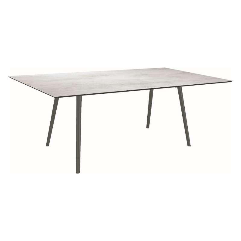 Stern Gartentisch Interno 180x100 cm Rundrohr konisch Aluminium anthrazit/Silverstar 2.0 Zement hell