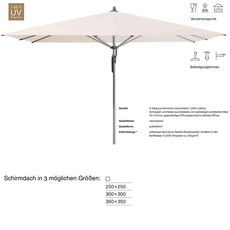GLATZ Sonnenschirm FORTERO® quadratisch 250 x 250 / 300 x 300 / 350 x 350 cm Vanilla 453 Mittelstock