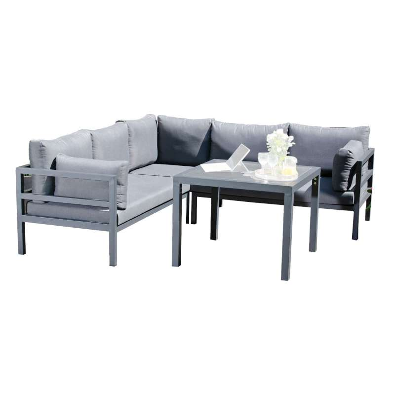 SunnySmart 2-teilige Loungegruppe Liberty Aluminium anthrazit Ecksofa mit Tisch
