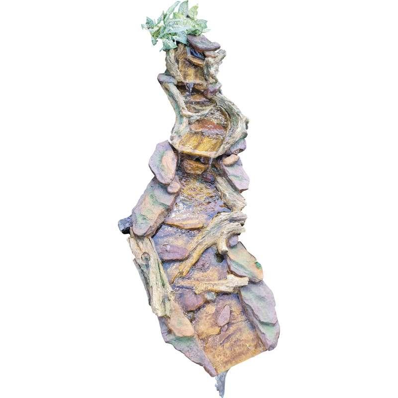 Granimex Hong He Polystone Bachlauf 2-teilig Wasserfall Springbrunnen Gartenbrunnen 128x41/25x72/56