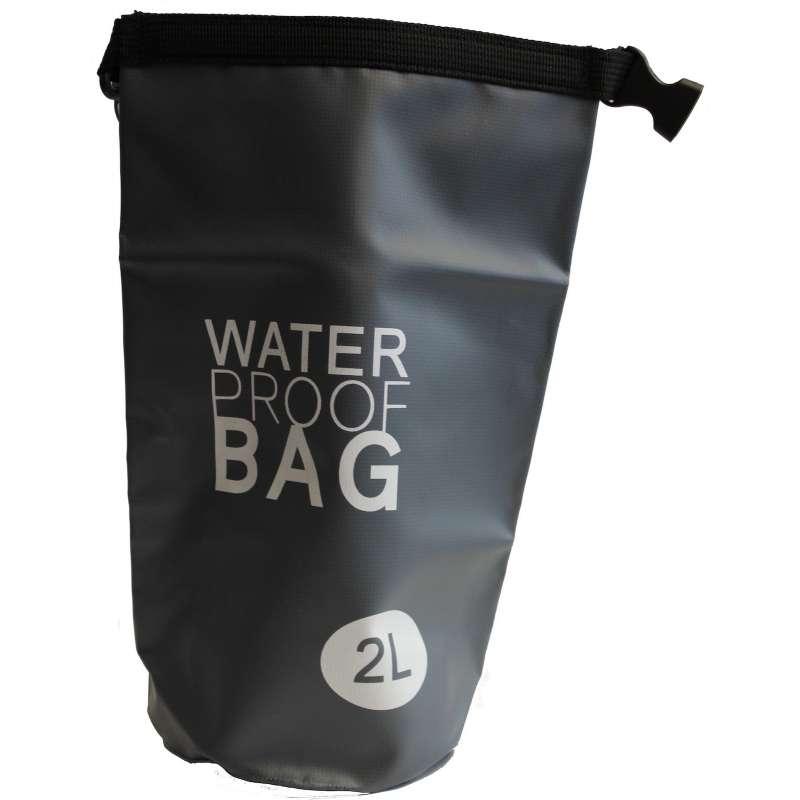 Drybag Tasche 2 Liter wasserdicht Packsack anthrazit Water proof Softcase Beutel