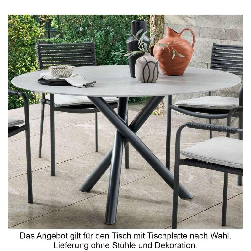SIT Mobilia Gartentisch Tubo Edelstahl eisengrau/wählbare Tischplatte rund Ø 140 cm Tisch Terrassent