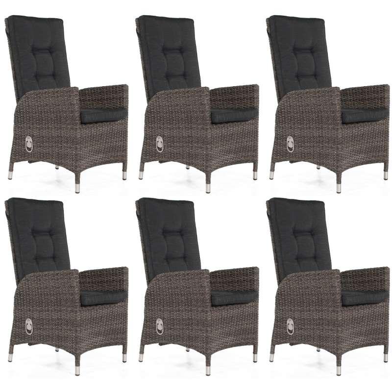 SunnySmart 6er Set Dining-Sessel Para Aluminium mit Kunststoffgeflecht vintage-grau Gartenstuhl