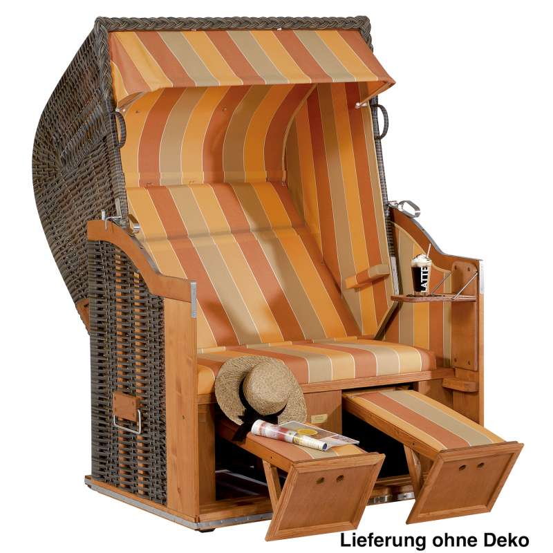 Sonnenpartner Strandkorb Classic 2 Sitzer Halbliegemodell cappuccino terracotta