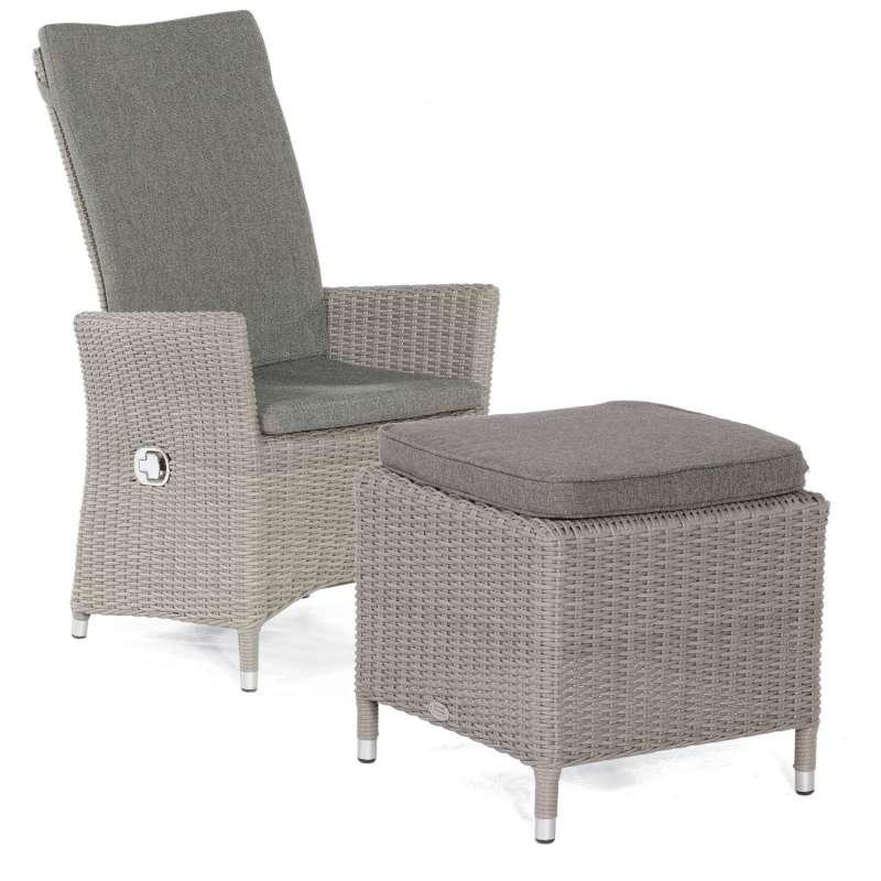 Sonnenpartner Garten-Sessel Solares mit Fußhocker Aluminium mit Polyrattan stone-grey Gartenstuhl Ho