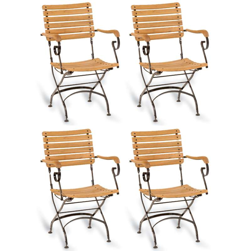 Sonnenpartner 4er-Set Klappsessel Oxford Teakholz und Eisen schwarz Gartenstuhl klappbar