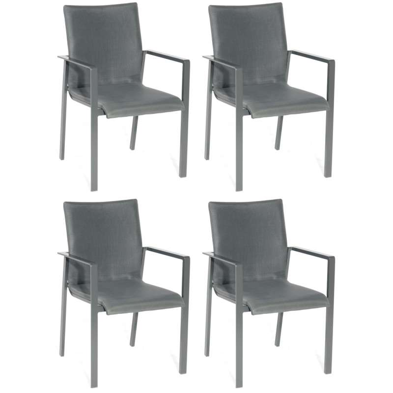 Sonnenpartner 4er-Set Stapelstühle West Aluminium mit Textilen anthrazit Stapel-Sessel Stapelstuhl