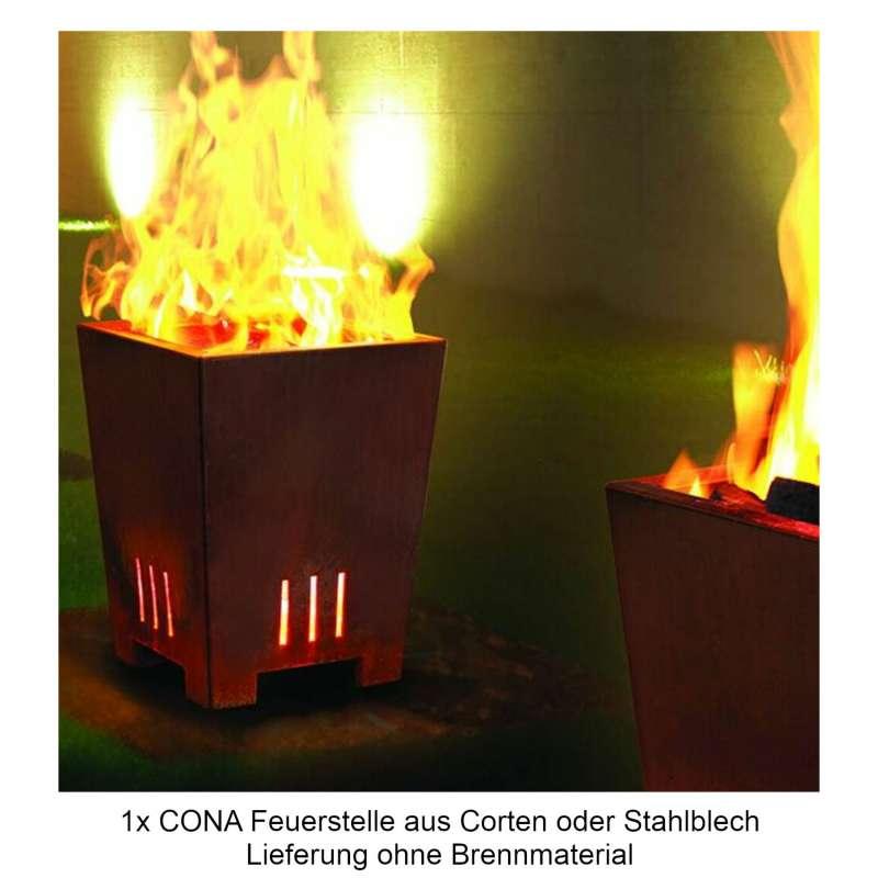 Mecondo Feuerstelle CONA konisch 45x45x55 cm Cortenstahl/Stahl Feuerkorb