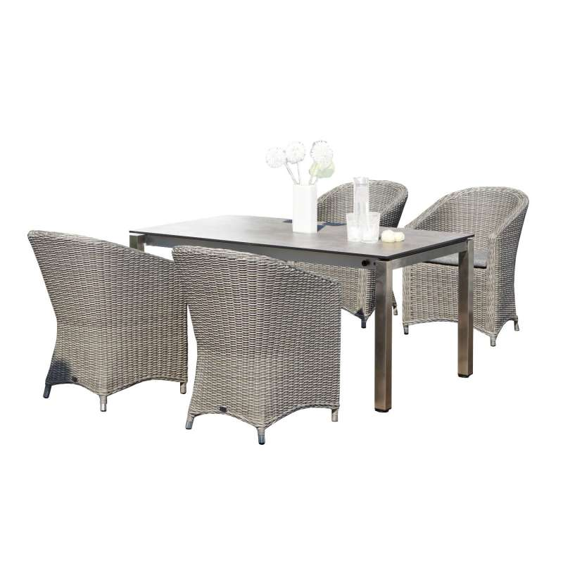 Sonnenpartner 5-teilige Sitzgruppe Solana & Base 160/210x90 cm Polyrattan stone-grey Edelstahl Garte
