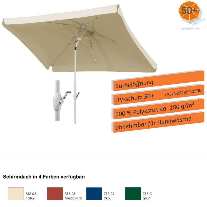 Schneider Schirme Oslo 300 x 200 cm eckig Mittelmastschirm Balkonschirm 4 Farben Sonnenschirm