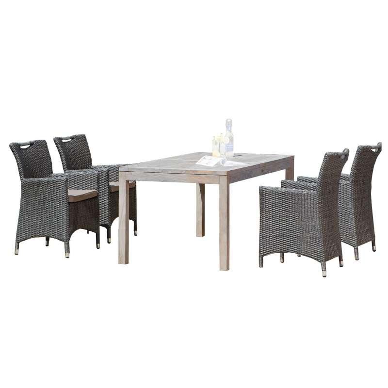 SunnySmart 5-teilige Sitzgruppe Cardinal & Wellington Aluminium Kunststoffgeflecht vintage-grau mit