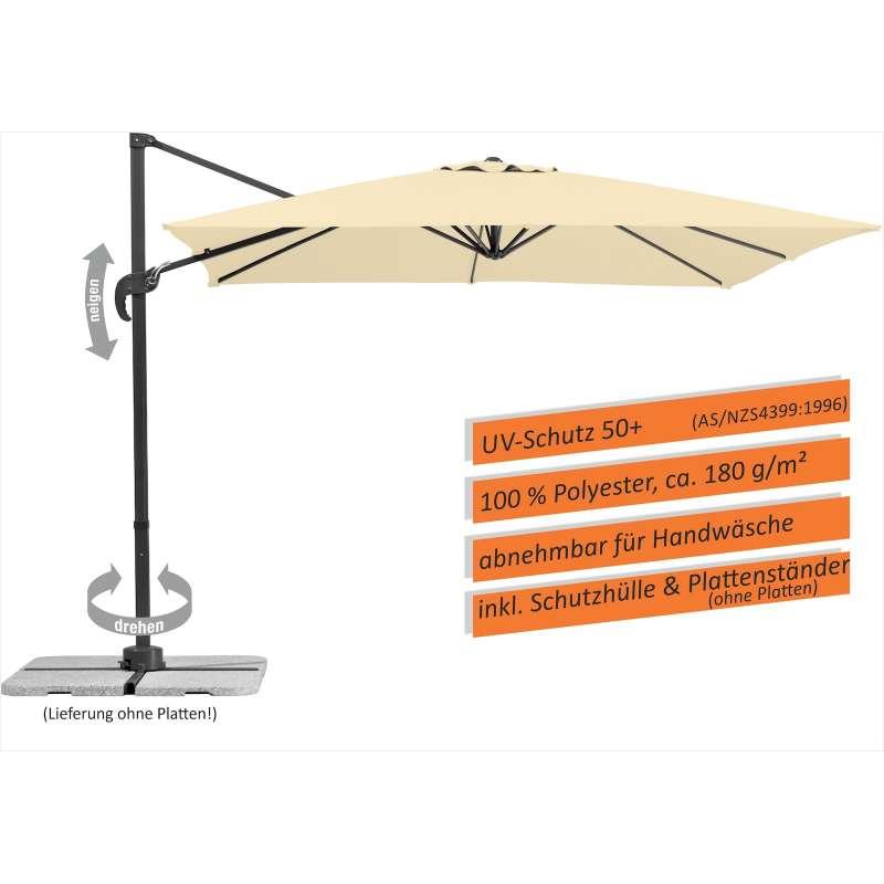Schneider Schirme Rhodos Junior Ampelschirm 270 x 270 cm natur Sonnenschirm Freiarm