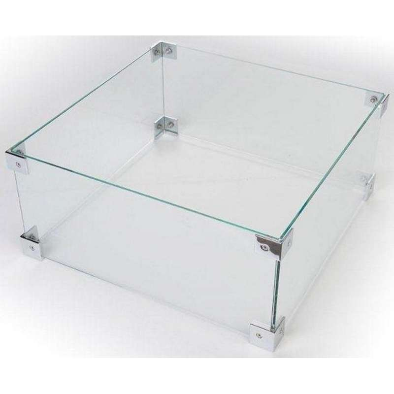 Happy Cocooning Glasschirm für Feuertische quadratisch/rechteckig/Table Top 56x56x26 cm Glasumrandun