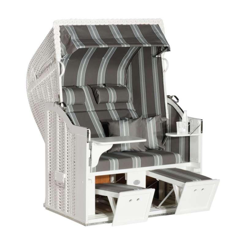 Sonnenpartner Strandkorb Classic 2-Sitzer Halbliegemodell weiß/grau mit Sonderausstattung
