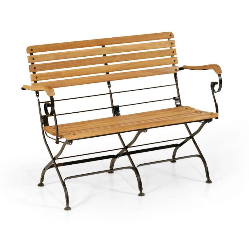 Sonnenpartner Klappbank Oxford Teakholz und Eisen schwarz Gartenbank klappbar