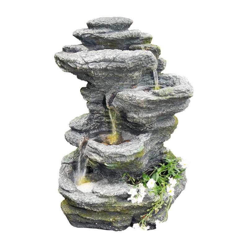 Granimex Tao Polystone Feng Shui Wasserfall mit Pumpe und LED-Beleuchtung Wasserspiel 51x33x22 cm