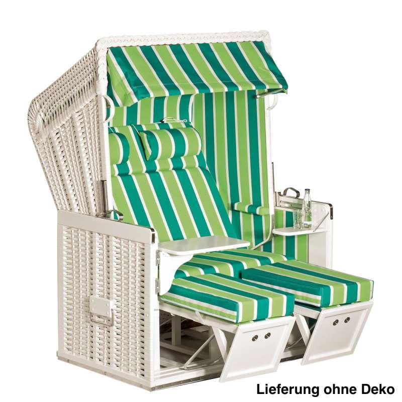 Sonnenpartner Strandkorb Konsul 2 Sitzer Halbliegemodell inkl. Ausstattung weiß