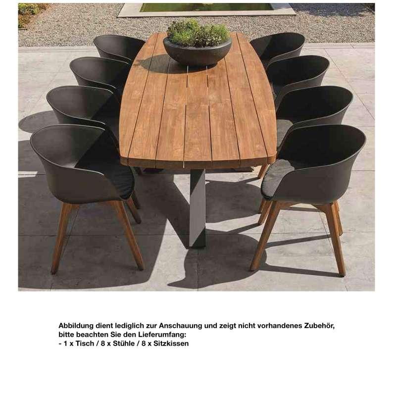 LIFE 9-teilig Timor Soltex Club Tisch 260 x 100 cm Teakholz Komplettset Tischgruppe