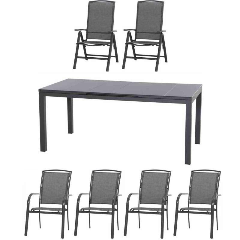 Siena Garden 7-teilige Sitzgruppe Livorno mit Tisch Miros ausziehbar 180/240x90 cm Aluminium anthraz