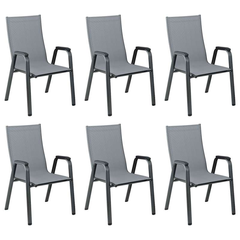 Kettler 6er-Set Stapelsessel Cirrus Aluminium anthrazit/Outdoorgewebe anthrazit-grau Stapelstuhl 61x
