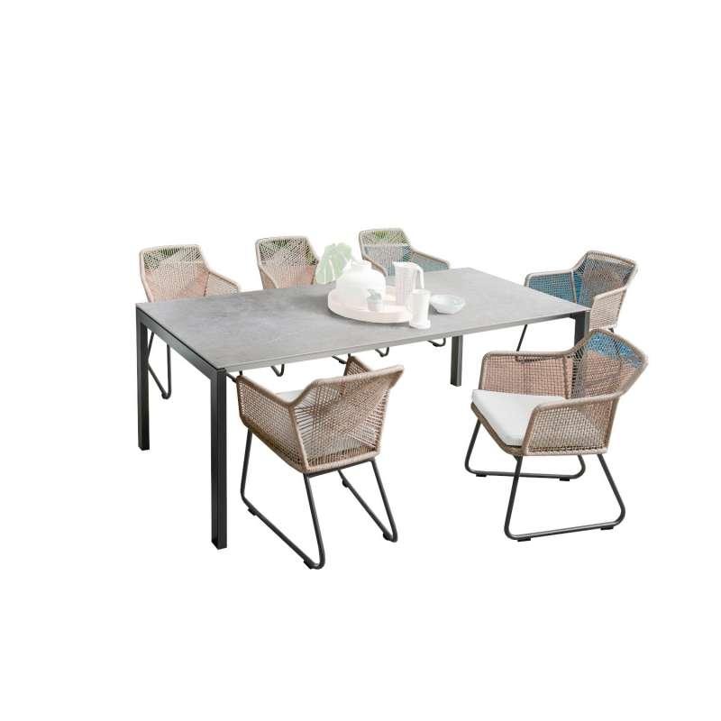 SIT Mobilia 7-teilige Sitzgruppe Ventura & Camilo Edelstahl eisengrau/Dekton/Textilen Tisch 210x95 c