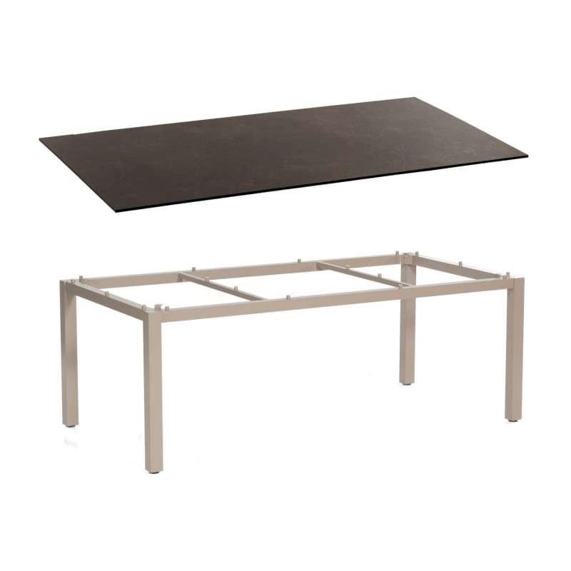 Sonnenpartner Gartentisch Base 200x100 cm Aluminium champagner Tischsystem mit wählbarer Tischplatte