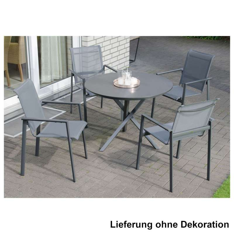 Sonnenpartner 5-teilige Sitzgruppe Esprit & Base-Spectra Ø 100 cm Aluminium mit Textilen anthrazit S