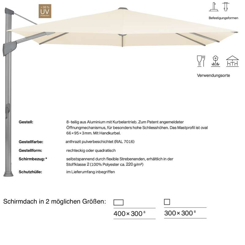 GLATZ Sonnenschirm FORTANO® easy Ampelschirm 300 x 300 / 400 x 300 cm Freiarmschirm Eggshell 150