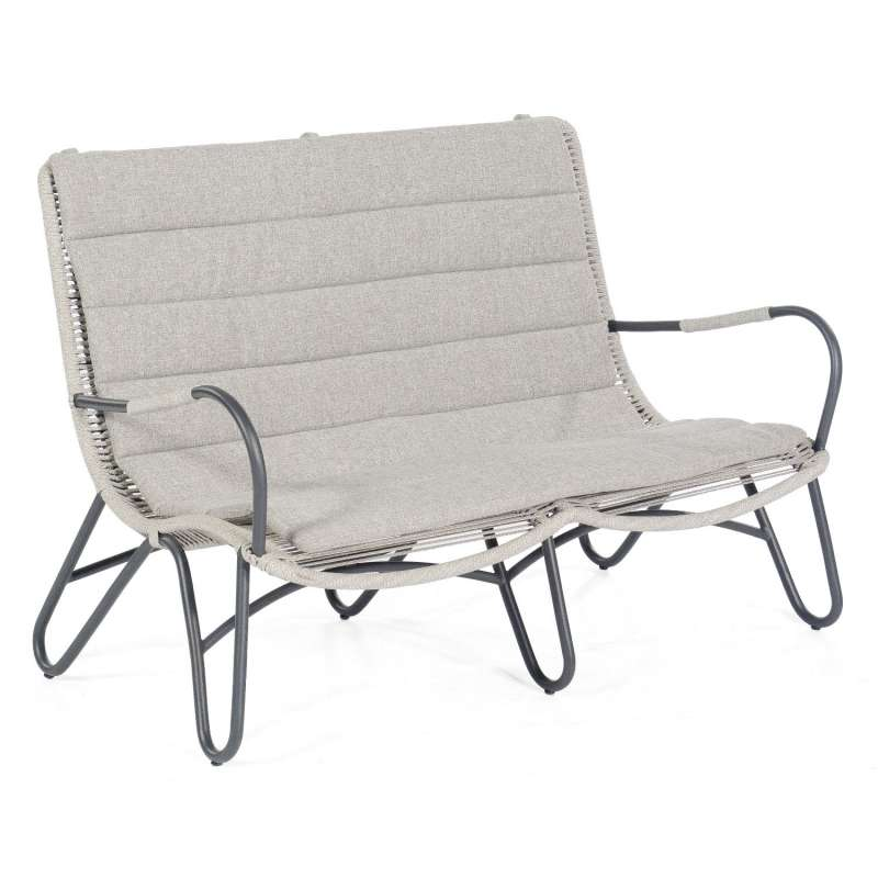 Sonnenpartner Loungesofa Charité Aluminium mit Polyrope silbergrau Relaxsessel Garten-Sofa